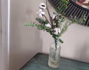 Vintage Glass Vase Cotton Stems Boxwood Hops Fern Rosemary