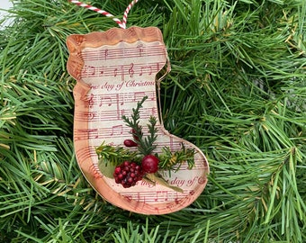 Stocking Copper Music Christmas Floral Ornament