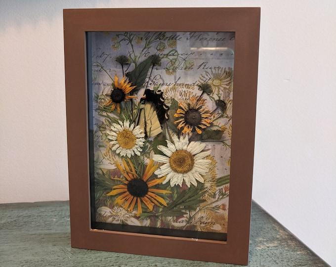 Featured listing image: Pressed Flower Shadowbox Painted with Rudbeckia and Daisies