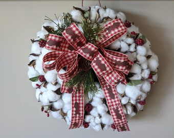 "9"" Cotton Boll Christmas Wreath"