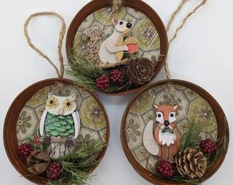 Rusty Mason Jar Lid Animal Christmas Ornament