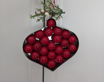 Metal Ornament with Red Lacquer Grape Berries Pip Berries and Evergreen
