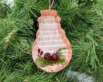 Snowman Copper Music Christmas Floral Ornament