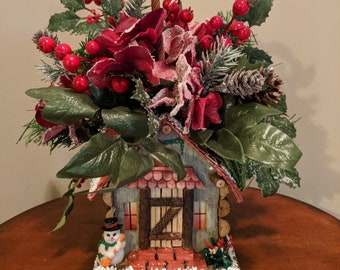 Holly Berry Holiday House Basket Arrangement