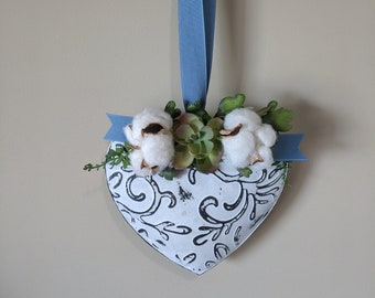 Tin Decorated Heart Cotton Bolls Succulent