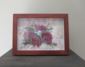 Pressed Flower Shadowbox Cherry Wood with Pink Bougainvillea