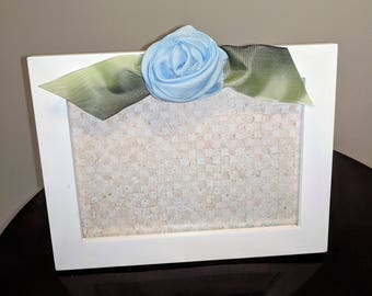 Blue Ribbon Rose Wood Picture Frame
