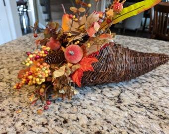 Fall Cornucopia Thanksgiving Table Centerpiece
