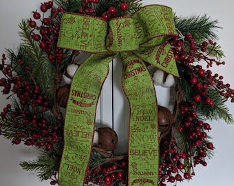 Cotton Boll Berry Bells Evergreen Christmas Wreath