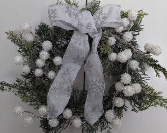 White and Silver Snowflake Wreath