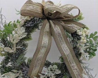 White and Gold  Burlap Wreath