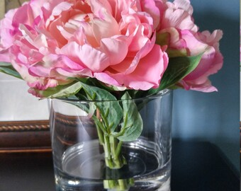 Silk Pink Peony Arrangement in Faux Water