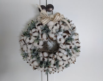 Cotton Boll Wreath with Ticking Bow