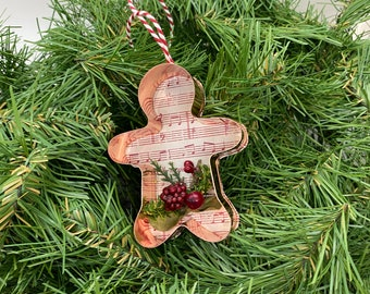 Gingerbread Man Copper Music Christmas Floral Ornament
