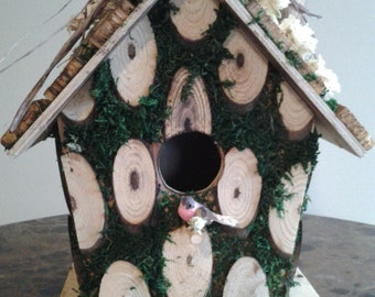 Rustic Birdhouse With Dried Larkspur Flowers