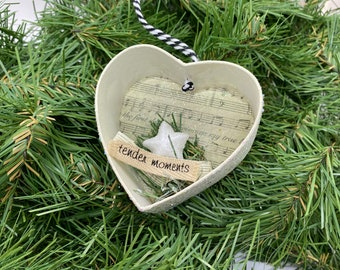 Heart Chipboard Music Christmas Floral Ornament-On the First Day of Christmas Sheet Music-Glittered Evergreen Holiday-Ornament Exchange