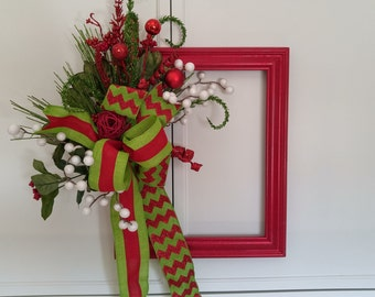 Holiday Door Hanger-Painted Christmas Frame with Silk Flowers-Christmas Decorations-Wood Frame-Whimsical Frame-Unique Decor
