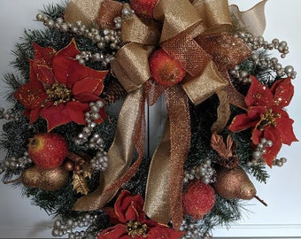 Copper and Gold Pointsettia Berry Christmas Door Wreath