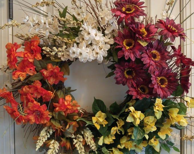 Featured listing image: Fall Silk Flower Wreath