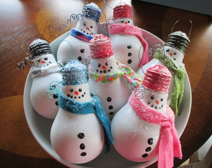 Featured listing image: Snowman Light Bulb Ornament