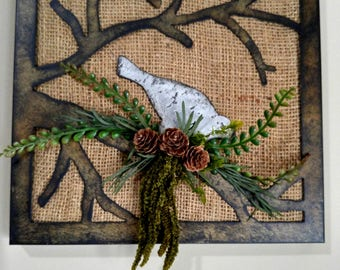 Metal Bird Burlap Art Wall Piece