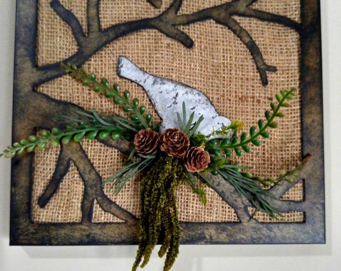 Featured listing image: Metal Bird Burlap Art Wall Piece