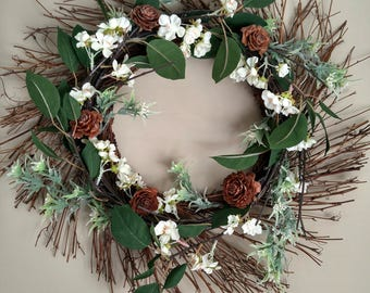 Cherry Blossom Natural Grapevine Wreath