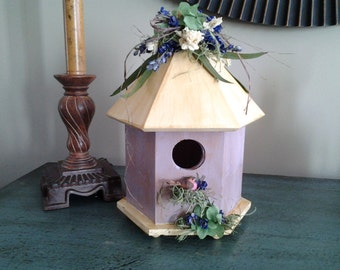 Spring Lavender Painted Birdhouse with Flowers