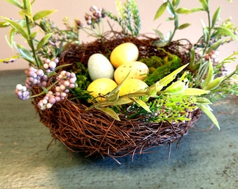 Spring Floral Edged Bird Nest with Eggs
