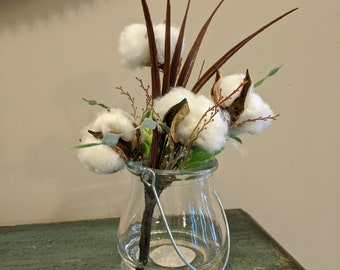 Rustic Cotton Boll and Greenery Vase Arrangement