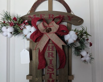 Rustic Merry Christmas Wall Sled
