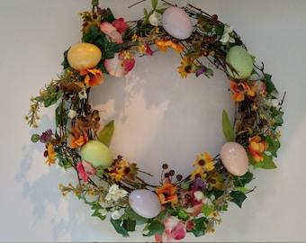 Spring Silk Flower and Egg Grapevine Wreath