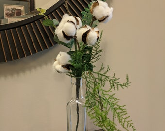Tall Glass Vase Cotton Boll and Greenery Arrangement