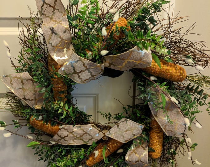 Featured listing image: Rustic Carrot Grapevine Wreath