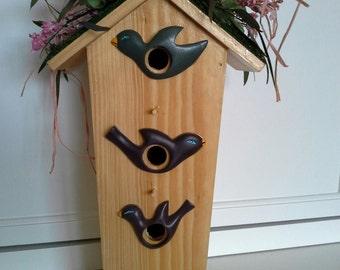 Birdhouse with Dried Flowers-Hydrangea Larkspur Eucalyptus