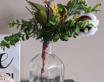 Cotton Boll and Greenery Glass Vase Arrangement