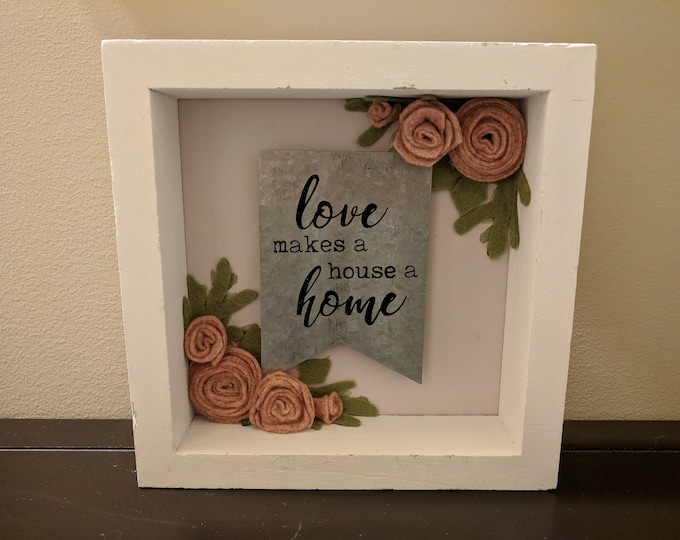 Featured listing image: Love Home Wood Galvanized Metal Felt Flower Wall Art