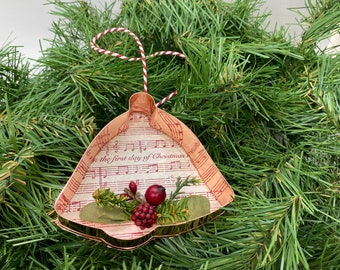 Bell Copper Music Christmas Floral Ornament