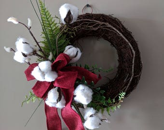Cotton Boll Grapevine Wreath-