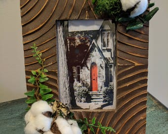 Swirl Wood Picture Frame with Cotton Bolls