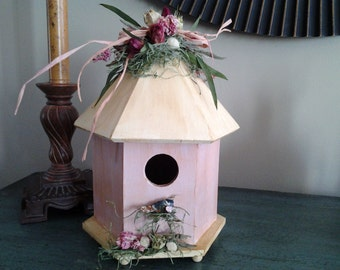 Spring Pink Painted Birdhouse with Flowers