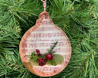Ball Copper Music Christmas Floral Ornament-On the First Day of Christmas Sheet Music-Copper Cookie Cut Out Holiday Decor-Ornament Exchange