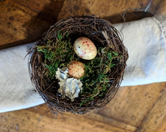 Bird Nest Napkin Ring Set of Four
