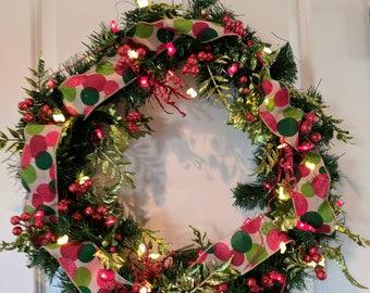 Red & Green Glitter Christmas Wreath