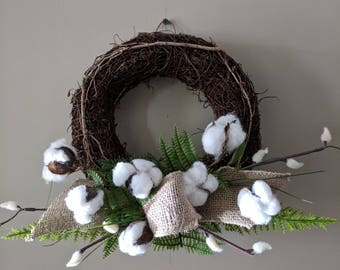 Cotton Boll Burlap Grapevine Wreath