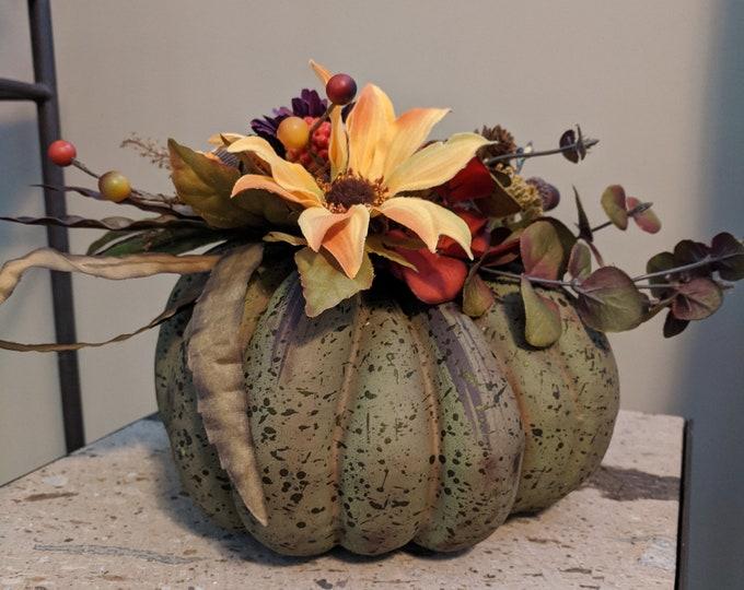 Featured listing image: Green Artificial Fall Pumpkin Table Centerpiece