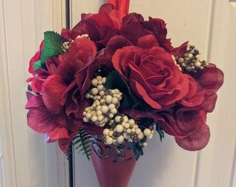 Valentine Silk Flowers Tin Cone
