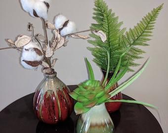 Succulent Cotton Boll Fern Vase Trio