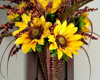 Yellow Sunflowers in Wicker Cone on Wooden Fence
