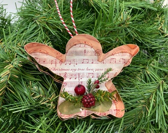 Angel Copper Music Christmas Floral Ornament-On the First Day of Christmas Sheet Music-Copper Cookie Cut Out Holiday Decor-Ornament Exchange